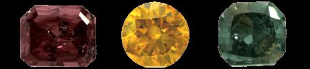 Diamants de couleurs violet, jaune orangé et bleu vert