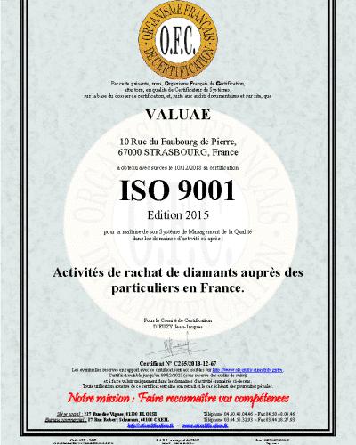 Valuae est certifié ISO 9001